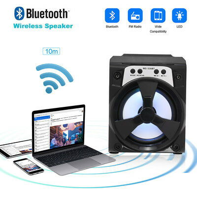 Wooden LED Bluetooth Wireless Speaker Mini SUPER BASS For Smartphone Tablet F1R8