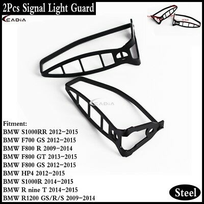 Motorcycle Steel Turn Signal Light Guards Cover Black For Bmw