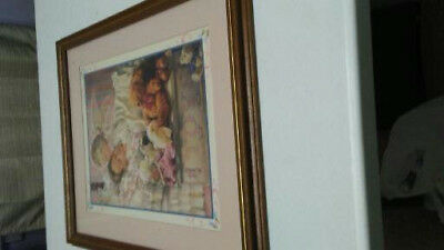 Vintage Home Interiors Angel Kissing Sleeping Print Picture Framed