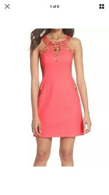 14e42dcc4bb8 NEW LILLY PULITZER Tina Stretch Shift Dress 2 Coral Sunset Solid Pink  Sleeveless