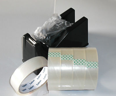 DESKTOP HEAVY DUTY WEIGHT SELLOTAPE CELLOTAPE TAPE DISPENSER with 5 FREE ROLLS