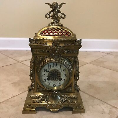 Antique French Cherub Figural Mantle Clock w/ Marti Medaille de Bronze Movement