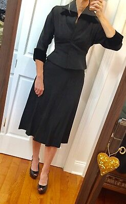 "VTG 1950s Classic ""NEW LOOK"" Black ~FAILLE VELVET COLLAR-CUFF NIPPED WAIST SUIT"
