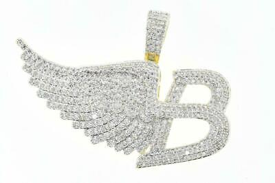 Hip Hop 14K Gold Plated Rapper Micro Pave B-Wing Charm Iced Out with Rope Chain