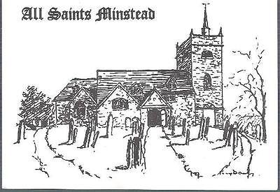 Minstead, Hampshire - All Saints church - art postcard c.1980s