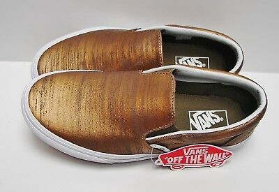 e7dc610e533a6a VANS Classic Slip-On (Brushed Metallic) Gold VN-0003DVHXW Women s size