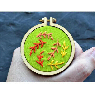 Mini Wood Cross Stitch Hoop Ring Embroidery Circle Frame for Pendant Making