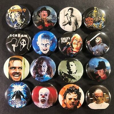 """Horror Icons 1"""" Button Pin Set Classic Movie Monster Characters Slasher Scary"""