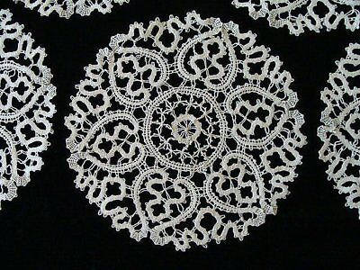 Beautiful Antique HAND MADE Bobbin Lace Doily Doilies PRISTINE