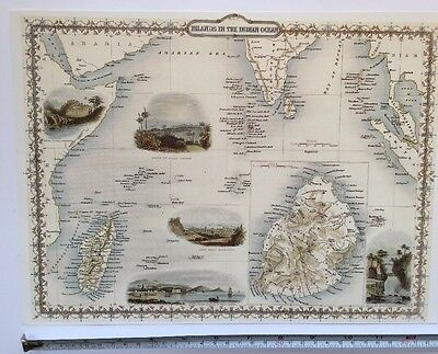 Antique vintage map 1800s: Islands in Indian Ocean: Tallis 13 X 9 Reprint 1851c