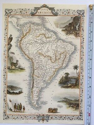 "Antique vintage colour map 1800s: South America: Tallis 13 X 9"" Reprint"