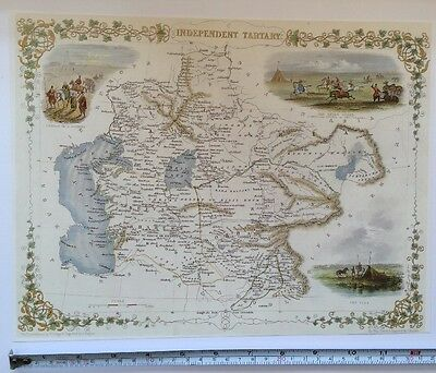 Antique vintage map 1800s: Independent Tartary: Tallis 13 X 9 Reprint 1851c