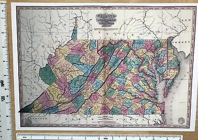 "Antique Vintage MAP 1800s: Virginia, Maryland, America: 1827: 13 X 9"" Reprint"