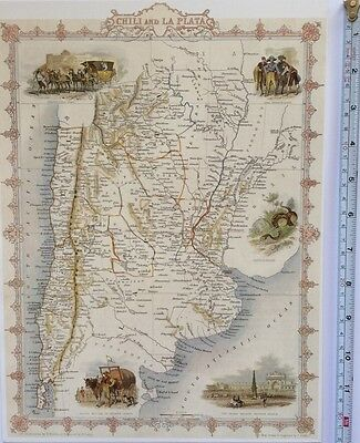 "Antique vintage colour map 1800s: Chilli & La Plata: John Tallis 13 X 9"" Reprint"