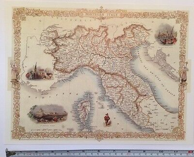 """Antique vintage colour map 1800s: Northern Italy by John Tallis 12 X 9"""" Reprint"""