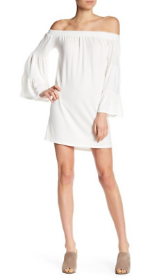 Go Couture Womens Ivory Off The Shoulder Shift Minidress Sz S 6010