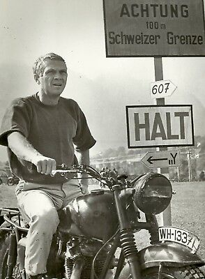 """The Great Escape, Steve McQueen - Motorcycle 1963. Canvas Framed Print 24""""x18"""""""