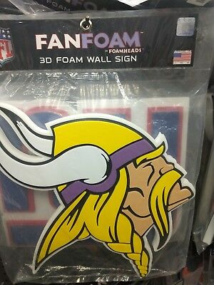 855222da MINNESOTA VIKINGS NFL Football Official 3D Foam Logo Wall Sign ...