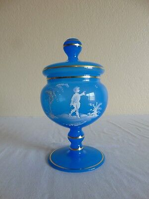 Vintage Mary Gregory Blue Candy Compote Dish & Lid MINT!