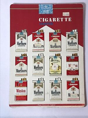 Cigarette Pack Lighters + Display 12 Lighters Marlboro Camel Winston NOS