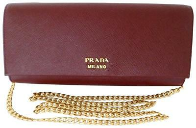 a5e40808c0 PRADA BURGUNDY SAFFIANO Leather Bibliothèque Clutch 1BF049 Crossbody bag  $1820