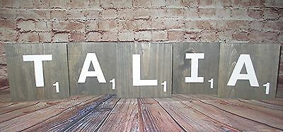 """X-Large Wood Scrabble Letter Tiles, Wall Art, Hang or Stand Decor 5.5"""", gr"""