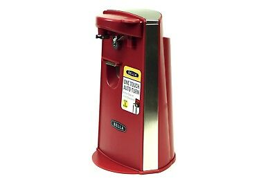 RED TALL ELECTRIC CAN OPENER with knife sharpener and bottle opener Bella - NEW.