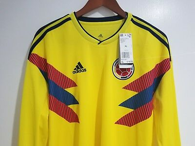 a97672afea2 NWT  Mens Genuine Adidas Colombia World Cup 2018 Home Soccer LS Jersey  BR3511 XL