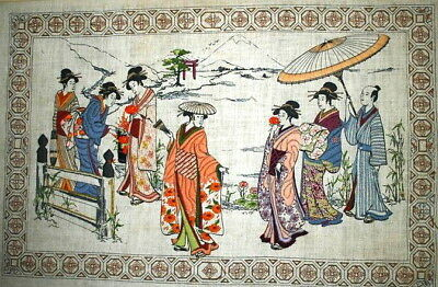 "1979 Dimensions Japanese ""Oriental Afternoon"" Finished Crewel Embroidery30 x 20"