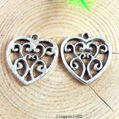 20pcs Antique Silver Tone Alloy Hollowed Heart Charms Jewelry 22*21*1mm 51250