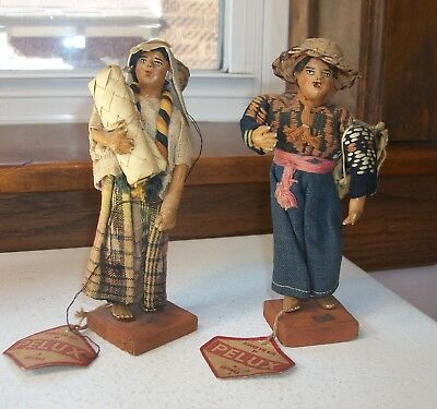 Two Pelux Guatemalan Hand Crafted Dolls  Circa 1940s