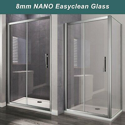 Sliding Door 6mm 8mm NANO Glass Cubicle Screen Shower Enclosure Side Panel Tray