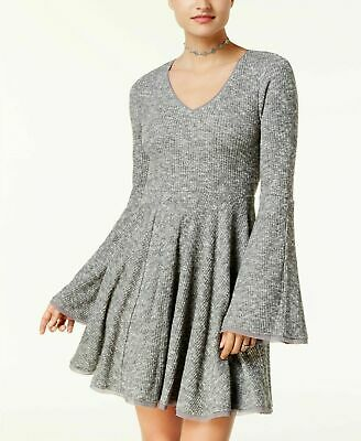 American Rag Womens Grey Ribbed Knit Dress 71319 Bell Sleeve Raw Casual Trendy S