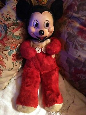 vintage Gund Mickey Mouse plush Walt Disney Character Rubber face Early