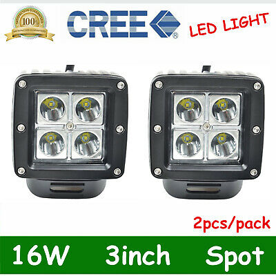 "2X 3"" 16W LED Work Light Cree Square Flood Beam Off Road Fog 4wd Lamp Cube Pods"