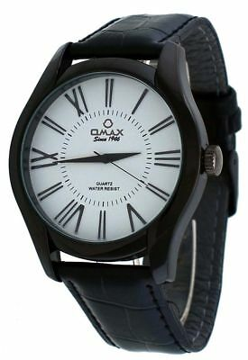 Omax #00OAS117BB13 Men's Executive Casual Black IP Roman Dial Leather Band Watch