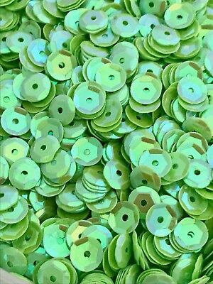 Sequins 6mm Chrysolite Green Iridescent AB French Cut Cup Choose Pack Size