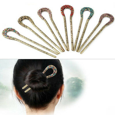 Antique Chignon Hair Pin Fork Stick Crystal Hair Bun Holder Bride Headwear