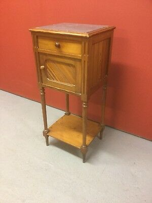 Antique Pitch Pine Marble Top Bedside Cabinet Sn-623