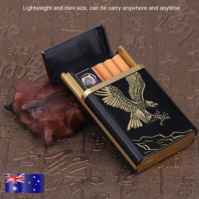Eagle Rechargeable Mini Arc USB Electric Flameless Lighter Cigar Cigarette Box