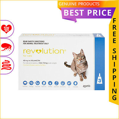 REVOLUTION for Cats 3 Doses 2.6 to 7.5 Kg BLUE Heartworm Flea treatment