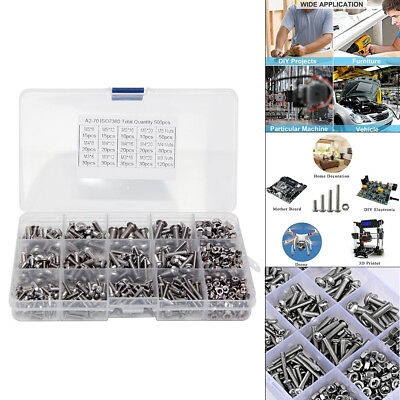 500pcs Assorted M3/M4/M5 Stainless Steel Hex Screws Socket Bolts and Nuts Kit
