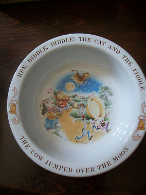 Mother Goose Avon Childs Bowl Hey Diddle Diddle Cat Cow Moon Nursery Rhyme