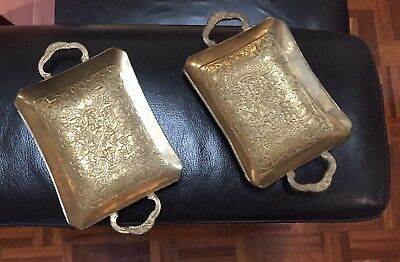 Two Vintage Brass Coin Tray / Tray