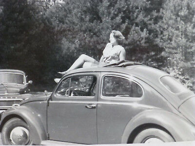 Vintage c 1940s VW Beetle Bug Car w Pin Up Type Girl Reclining on Roof B&W Photo