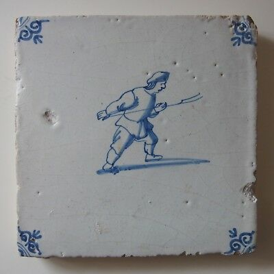 "17th Century DUTCH DELFT TILE ""FARMER WITH A PICHFORK"""