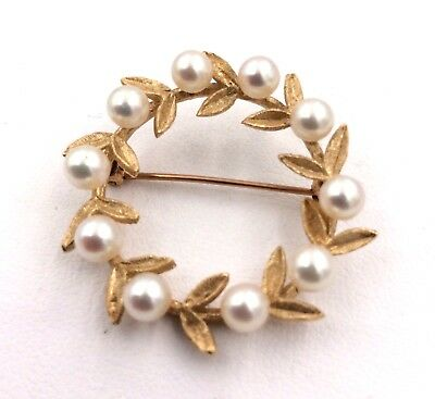 14k Yellow Gold 4.3mm Cultured Pearl Floral Leaf Pin 4.6grams