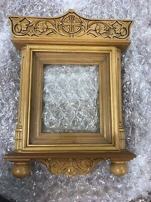 Beautiful Hand Carved Wood Shrine For Kiot Icon Made In Russia