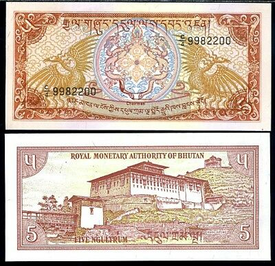 Bhutan 5 Ngultrum Nd 1985 P 14 C/4 Prefix Aunc About Unc