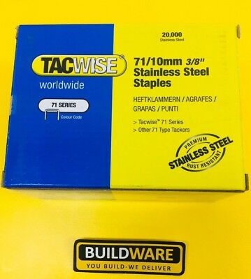 """Tacwise 71/10mm 3/8"""" Galvanised Staples 0369 Box Of 20,000 Upholstery"""